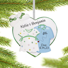 Personalized Expecting Couple Shirts Christmas Ornament