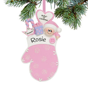 Personalized Mitten Baby Girl Christmas Ornament