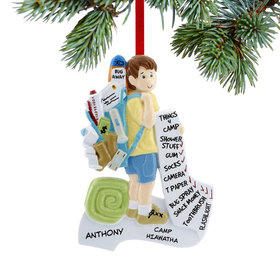 Personalized Summer Camp Boy Christmas Ornament