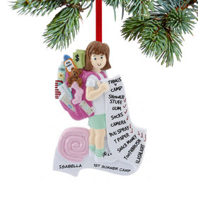 Personalized Summer Camp Girl Christmas Ornament