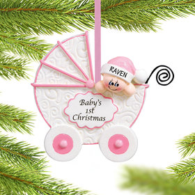 Personalized Baby Buggy First Christmas Girl Christmas Ornament