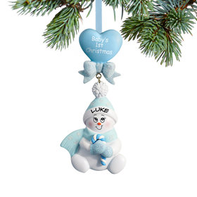Personalized Baby's 1st Christmas Blue Snowbaby with Candy Cane Christmas Ornament