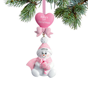 Personalized Baby's 1st Christmas Pink Snowbaby with Candy Cane Christmas Ornament