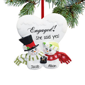 Personalized Engaged Snowman Couple Christmas Ornament