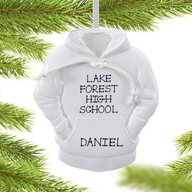 Personalized White Hoodie Christmas Ornament