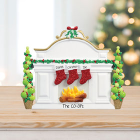 Personalized Business Mantel with 3 Stockings Tabletop Christmas Ornament