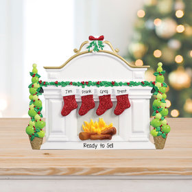 Personalized Business Mantel with 4 Stockings Tabletop Christmas Ornament