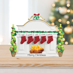 Personalized Mantel with 5 Stockings Tabletop Christmas Ornament