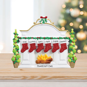 Personalized Business Mantel with 6 Stockings Tabletop Christmas Ornament