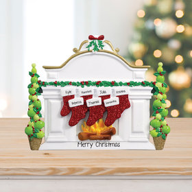 Personalized Mantel with 7 Stockings Tabletop Christmas Ornament