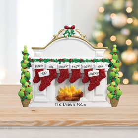 Personalized Business Mantel with 8 Stockings Tabletop Christmas Ornament