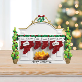 Personalized Mantel with 8 Stockings Tabletop Christmas Ornament