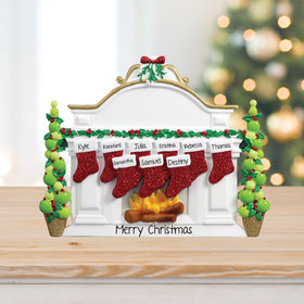 Personalized Mantel with 9 Stockings Tabletop Christmas Ornament