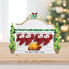 Personalized Business Mantel with 10 Stockings Tabletop Christmas Ornament