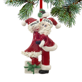Personalized Mistletoe Santa and Mrs. Claus Christmas Ornament