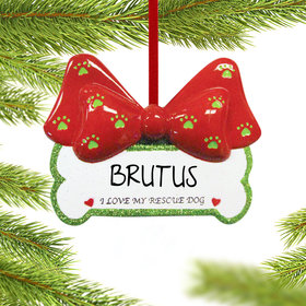 Personalized Rescue Dog Bone Christmas Ornament
