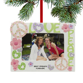 Personalized Love & Peace Picture Frame Christmas Ornament