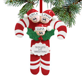 Personalized Candy Cane Family of 3 Christmas Ornament