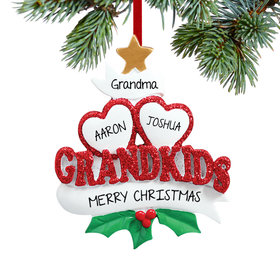 Personalized Grandkids Hearts 2 Christmas Ornament