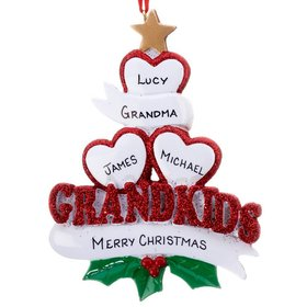 Personalized Grandkids Hearts 3 Christmas Ornament