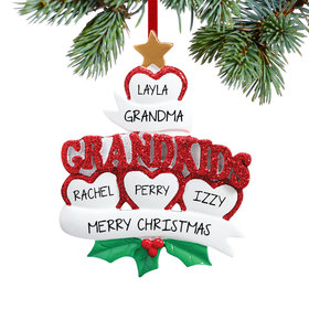 Personalized Grandkids Hearts 4 Christmas Ornament