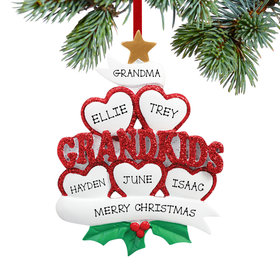 Personalized Grandkids Hearts 5 Christmas Ornament