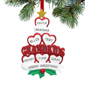 Personalized Grandkids Hearts 6 Christmas Ornament