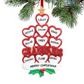 Personalized Grandkids Hearts 10 Christmas Ornament