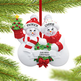 Personalized Snowmen with Banner Couple Christmas Ornament