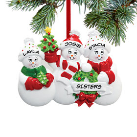 Personalized Snowmen with Banner Family of 3 Christmas Ornament