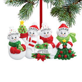 Personalized Snowmen with Banner Family of 4 Christmas Ornament