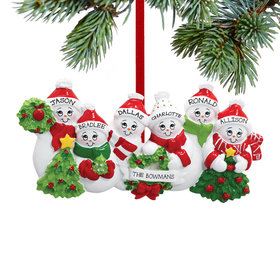 Personalized Snowmen with Banner Family of 6 Christmas Ornament