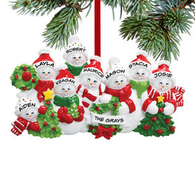 Personalized Snowmen with Banner Family of 8 Christmas Ornament