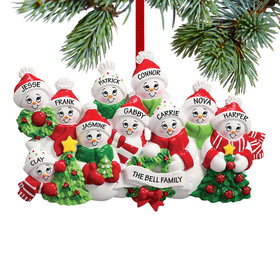 Personalized Snowmen with Banner Family of 10 Christmas Ornament