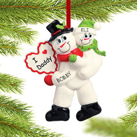 Personalized I Love Daddy 1 Child Christmas Ornament