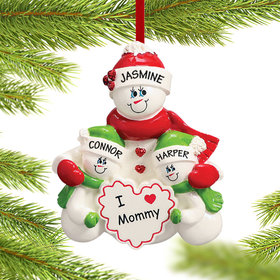Personalized I Love Mommy 2 Children Christmas Ornament