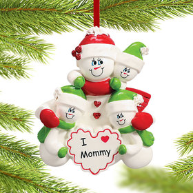 I Love Mommy 3 Children Christmas Ornament