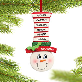 Personalized Snowman Face Up to 6 Names Christmas Ornament