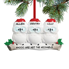 Personalized Wise Owl Family of 3 Christmas Ornament