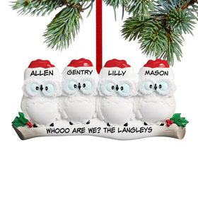 Personalized Wise Owl Family of 4 Christmas Ornament