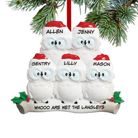 Personalized Wise Owl Family of 5 Christmas Ornament