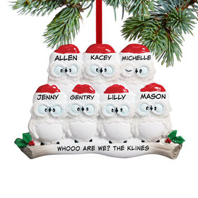 Personalized Wise Owl Family of 7 Christmas Ornament