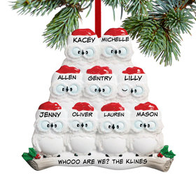 Personalized Wise Owl Family of 9 Christmas Ornament
