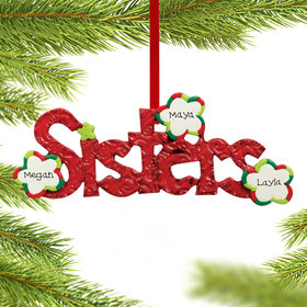 Personalized Sisters Word for 2 or 3 sisters Christmas Ornament