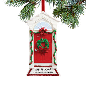 Personalized Red Door with Peaked Roof Christmas Ornament