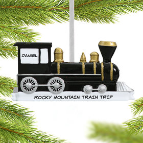 Personalized Black Locomotive Christmas Ornament