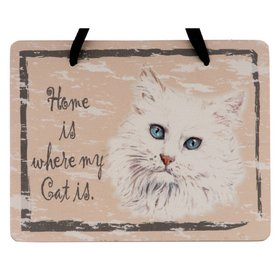 Personalized White Cat Plaque Christmas Ornament