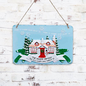Personalized House with Banner Plaque Christmas Ornament