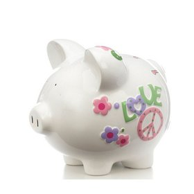 Personalized Peace & Love Piggy Bank Christmas Ornament