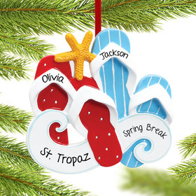 Personalized Flip Flops Couple Christmas Ornament